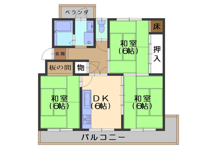 南円明寺ヶ丘団地12棟 価格5.4万円 イメージ